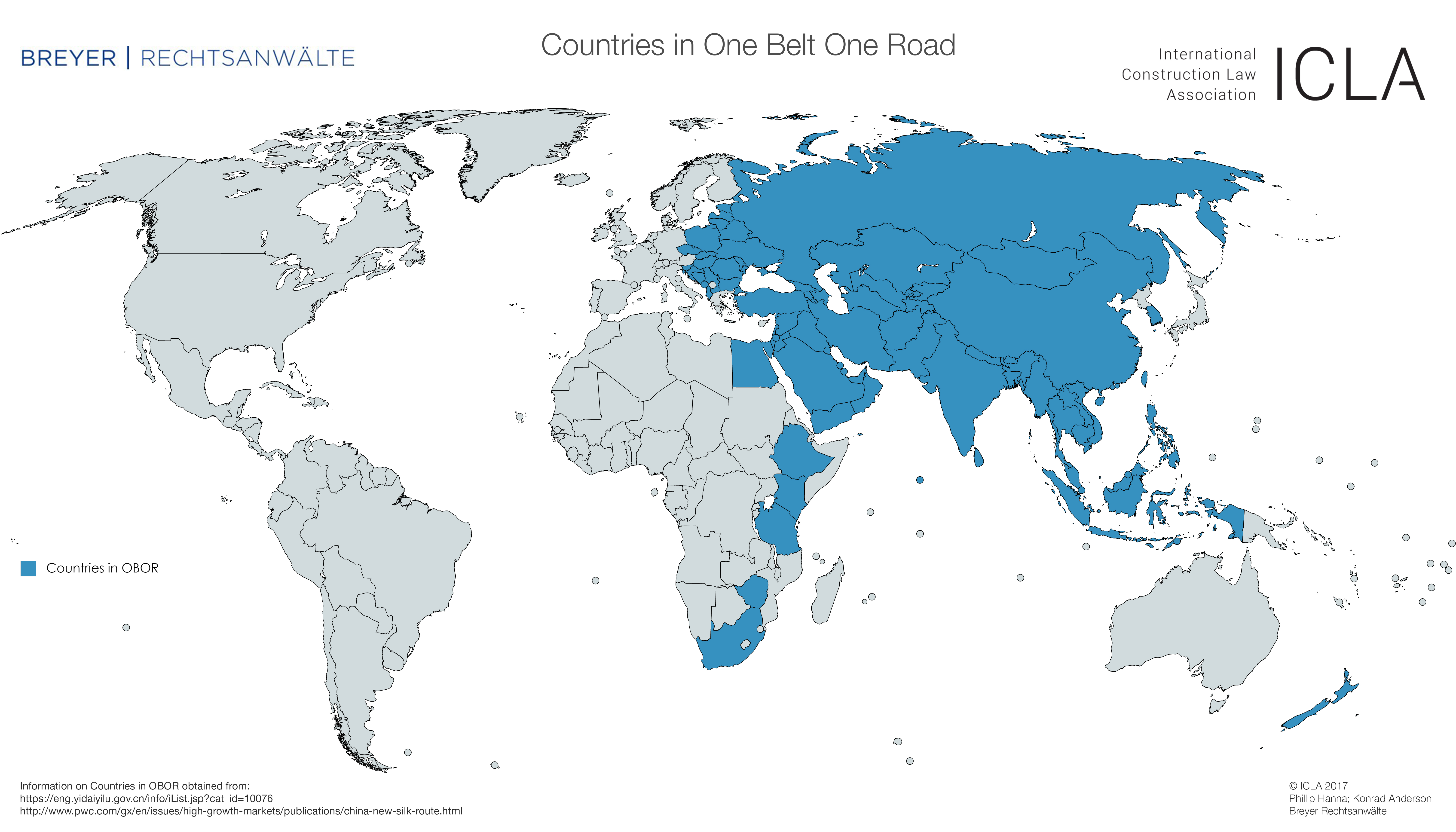 ICLA – ONE BELT ONE ROAD Maps showing countries affected by OBOR