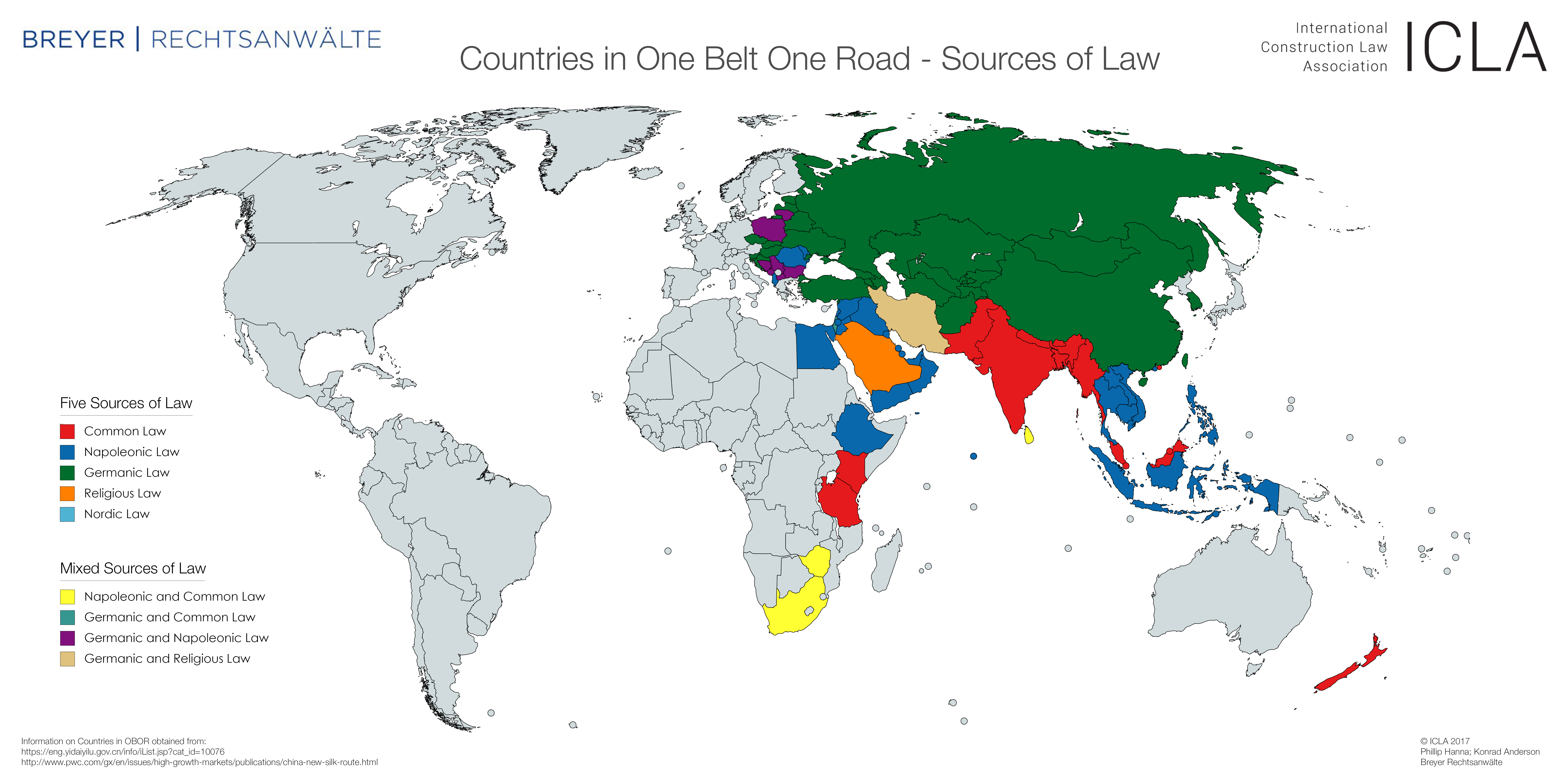 ICLA – ONE BELT ONE ROAD Maps showing countries affected by OBOR 2